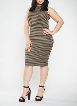 Plus Size Striped Midi Tank Dress - 0390038348711
