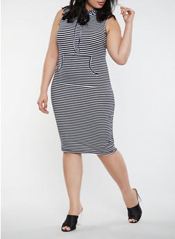 Plus Size Striped Midi Tank Dress - 0390038348711