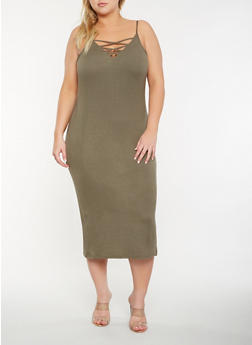 Plus Size Caged Front Tank Dress - 0390038348713
