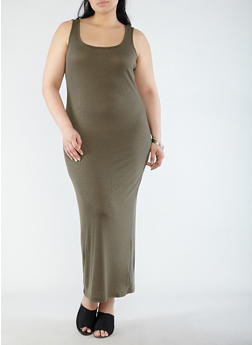 Plus Size Ribbed Knit Tank Maxi Dress - 0390038348721