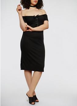 Plus Size Lace Up Off the Shoulder Dress - 0390038348722