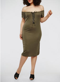 Plus Size Lace Up Off the Shoulder Dress - 0390038348722