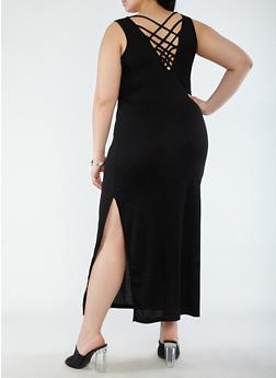 Plus Size Caged Back Maxi Tank Dress - BLACK - 0390038348723