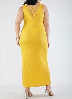 Plus Size Caged Back Maxi Tank Dress - 0390038348723