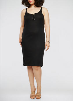 Plus Size Rib Knit Lace Up Tank Dress - BLACK - 0390038348724