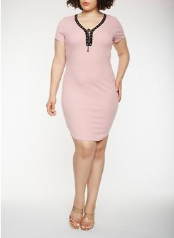 Plus Size Lace Up T Shirt Dress - 0390038348725