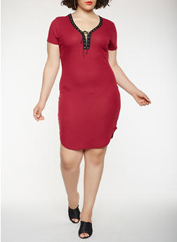 Plus Size Lace Up T Shirt Dress - 0390038348725