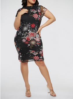 Plus Size Floral Mesh Dress - 0390038348767