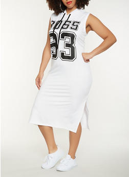 Plus Size Boss Graphic Midi Tank Dress - 0390038348797