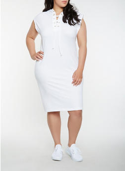Plus Size Hooded Lace Up Midi Dress - WHITE - 0390038348798