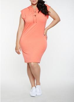 Plus Size Hooded Lace Up Midi Dress - 0390038348798