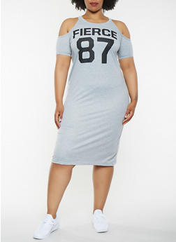 Plus Size Graphic Cold Shoulder Midi Dress - 0390038348799