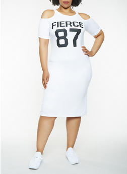Plus Size Graphic Cold Shoulder Midi Dress - WHITE - 0390038348799