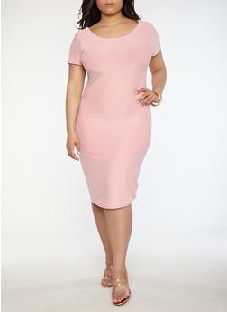 Plus Size Soft Knit T Shirt Dress - 0390038348801
