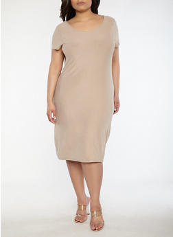 Plus Size Soft Knit T Shirt Dress - 0390038348801