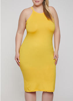 Plus Size Soft Knit Bodycon Midi Dress - 0390038348811