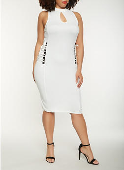 Plus Size Lace Up Side Midi Dress - IVORY - 0390038348812