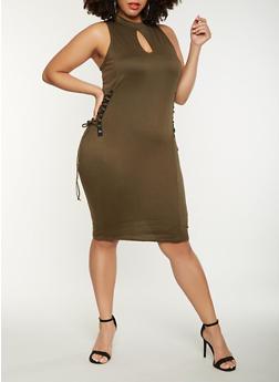 Plus Size Lace Up Side Midi Dress - 0390038348812