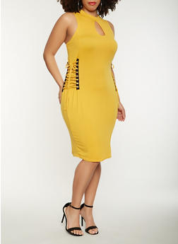 Plus Size Lace Up Side Midi Dress - 0390038348812