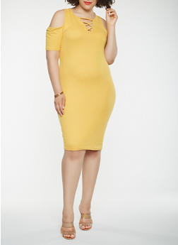 Plus Size Lace Up Cold Shoulder Dress - 0390038348818