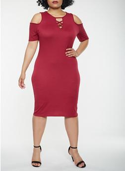 Plus Size Lace Up Cold Shoulder Dress - 0390038348818