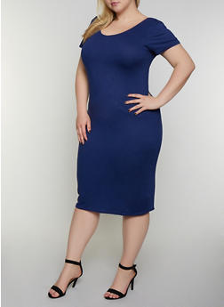 Plus Size Scoop Back Soft Knit Dress - 0390038348831
