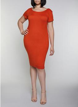 Plus Size Scoop Back Soft Knit Dress - 0390038348831
