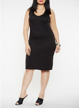 Plus Size Lace Up Back Tank Dress - 0390038348846