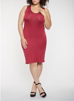 Plus Size Lace Up Back Tank Dress - 0390038348846