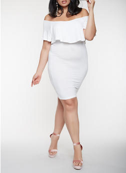 Plus Size Ruffled Off the Shoulder Dress - IVORY - 0390038348847