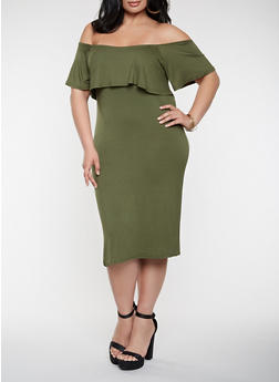 Plus Size Ruffled Off the Shoulder Dress - 0390038348847