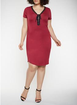 Plus Size Lace Up T Shirt Dress - 0390038348849