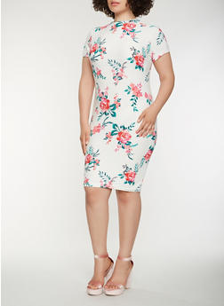 Plus Size Floral Midi Dress - 0390038348864