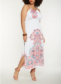 Plus Size Printed Tank Maxi Dress - 0390038348894