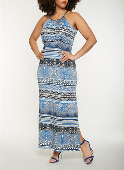 Plus Size Printed Tank Maxi Dress - 0390038348897