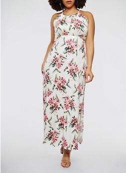 Plus Size Floral Metallic Neckline Maxi Dress - 0390038348898
