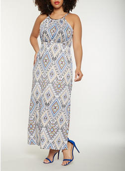 Plus Size Printed Tank Maxi Dress - 0390038348899
