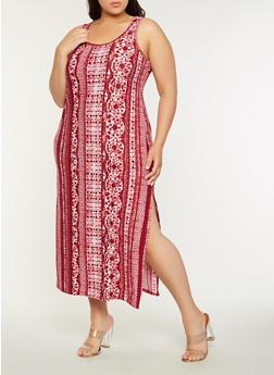Plus Size Soft Knit Tank Maxi Dress - 0390038348902