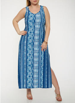 Plus Size Soft Knit Tank Maxi Dress - 0390038348902