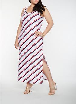 Plus Size Striped Tank Maxi Dress - WHITE - 0390038348905