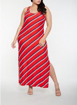 Plus Size Striped Tank Maxi Dress - RED - 0390038348905