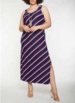 Plus Size Striped Tank Maxi Dress - 0390038348905