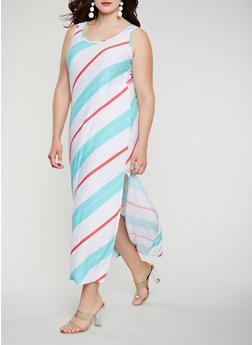 Plus Size Diagonal Striped Tank Maxi Dress - 0390038348907