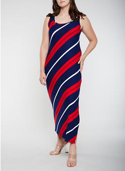 Plus Size Diagonal Striped Tank Maxi Dress - 0390038348907