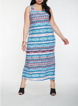 Plus Size Printed Tank Maxi Dress - 0390038348908