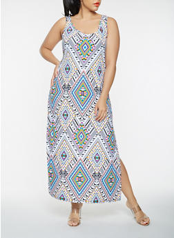 Plus Size Geometric Print Tank Maxi Dress - 0390038348909