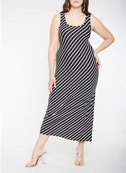 Plus Size Soft Knit Diagonal Stripe Tank Maxi Dress - 0390038348911