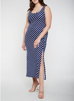 Plus Size Soft Knit Diagonal Stripe Tank Maxi Dress - 0390038348911