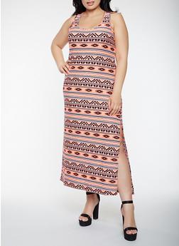Plus Size Printed Tank Maxi Dress - 0390038348912