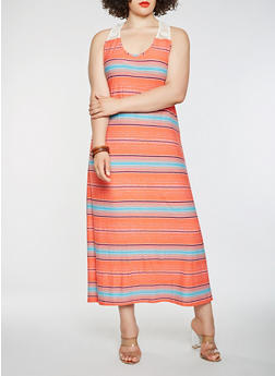 Plus Size Striped Tank Maxi Dress - 0390038348919